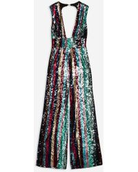 b9127214a86f Club L stripe Sequin Plunge Jumpsuit By in Blue - Lyst