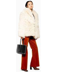 TOPSHOP - Patched Shearling Coat - Lyst