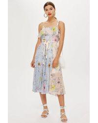 TOPSHOP - Pleated Midi Dress - Lyst