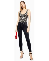 TOPSHOP - Ashed Black Button Fly Jamie Jeans - Lyst