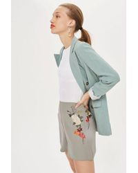 TOPSHOP - Embroidered Shorts - Lyst