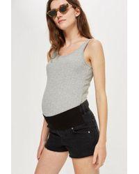 TOPSHOP - maternity Washed Black Mom Shorts - Lyst
