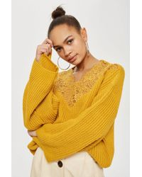 TOPSHOP - Lace Detail Cropped Jumper - Lyst