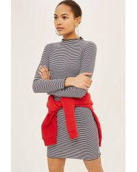 TOPSHOP - Stripe Frill Edge Bodycon Dress - Lyst