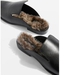 TOPSHOP - Kuddle Furry Leather Loafers - Lyst