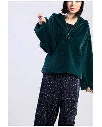 Glamorous - faux Fur Hooded Zip Through Sweatshirt By - Lyst