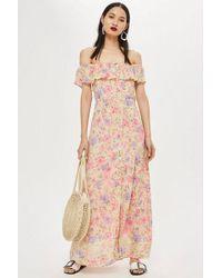 3520a3fca4 Topshop Petite Floral Bardot Maxi Dress in Pink - Lyst