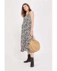 TOPSHOP - Maternity Zebra Print Ruffle Slip Dress - Lyst