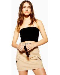 9ec747db5a78fb Lyst - TOPSHOP Tall Ribbed Crop Cami Top in Black