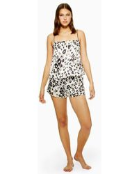 TOPSHOP - Leopard Print Satin Camisole And Shorts Pyjama Set - Lyst