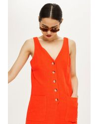 TOPSHOP - Linen Button Down Playsuit - Lyst