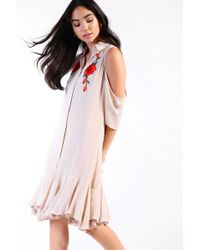 Glamorous - Embroidered Shirt Dress By - Lyst