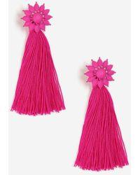 TOPSHOP - Flower Tassel Drop Earrings - Lyst