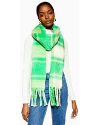 0b2e4e810 TOPSHOP Camel Navy Check Scarf in Natural - Lyst