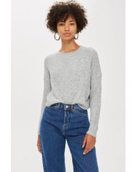 TOPSHOP - Ribbed Cropped Jumper - Lyst