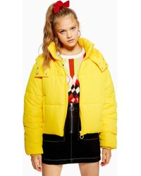 TOPSHOP - Hooded Puffer Jacket - Lyst