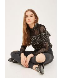 TOPSHOP - Ashed Black Ripped Joni Jeans - Lyst
