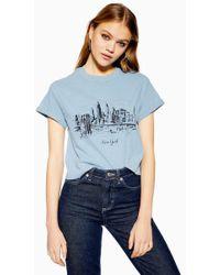 6be27f918bc Topshop Boyfriend T-shirt Tunic in Blue - Lyst