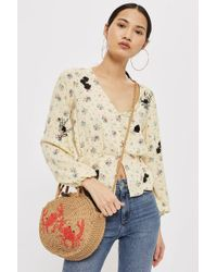 TOPSHOP - Embroidered Floral Blouse - Lyst
