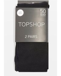 TOPSHOP - 50 Denier Tights 2 Pack - Lyst