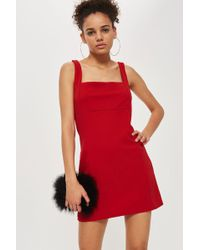 Oh My Love - Red Pinafore Mini Dress By - Lyst