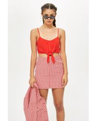 a1116593943154 TOPSHOP - Petite Knot Front Cropped Camisole Top - Lyst