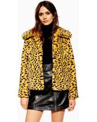 35a64d092e71 One Teaspoon Roadhouse Faux Fur Cheetah Wool Blend Print Coat in ...