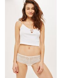 7bdff7a12ab5 TOPSHOP Lace Brazilian Knickers in Blue - Lyst