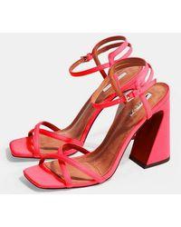 TOPSHOP - Redemption Pink Sandals - Lyst