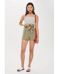 TOPSHOP - Linen Button Paperbag Shorts - Lyst