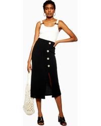 71284e33a7 TOPSHOP Snake Print Leather Look Pencil Skirt in Black - Lyst