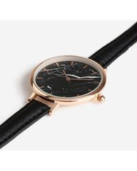 TOPSHOP - Black Marble Face Watch - Lyst
