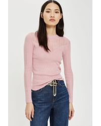 TOPSHOP - Pointelle Detail Top - Lyst