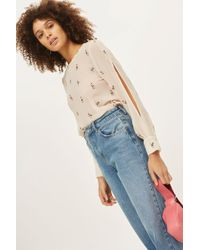 TOPSHOP - Embroidered Slash Sleeve Top - Lyst