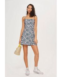 TOPSHOP - Ditsy Button Through Mini Slip Dress - Lyst