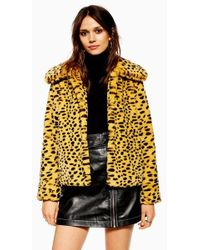 706c0e72577b TOPSHOP Snake Print Coat in Yellow - Lyst