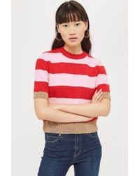 TOPSHOP - Metallic Thread Stripe Top - Lyst