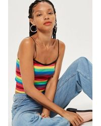 TOPSHOP - Petite Rainbow Striped Camisole Top - Lyst