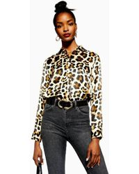 TOPSHOP - Leopard Print Shirt - Lyst