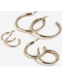 TOPSHOP - thick Hoop Earrings Pack - Lyst