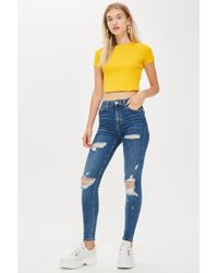 TOPSHOP - Id Blue Super Ripped Jamie Jeans - Lyst