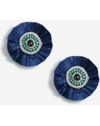 TOPSHOP - Beaded Raffia Stud Earrings - Lyst
