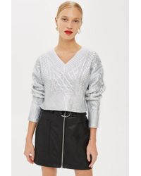 TOPSHOP - Foil V-neck Crop Cable Jumper - Lyst