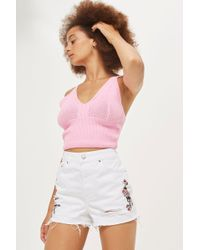 TOPSHOP - Moto Embroidered Ripped Mom Shorts - Lyst