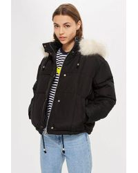 TOPSHOP - Petite Faux Fur Lined Quilted Puffer Jacket - Lyst