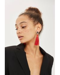 TOPSHOP - Stud Tassel Drop Earrings - Lyst