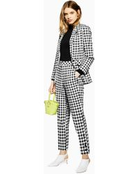 TOPSHOP - Gingham Tapered Trousers - Lyst