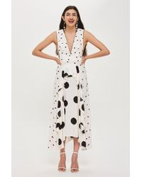 TOPSHOP - Mix Spotted Midi Dress - Lyst