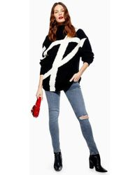 TOPSHOP - maternity Under The Bump Rip Jamie Jeans - Lyst