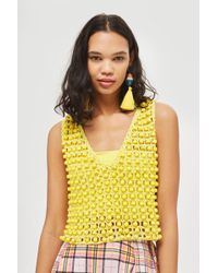 TOPSHOP - Beaded Crochet Vest - Lyst